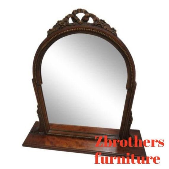 Antique Drepression Walnut Shaving Mirror