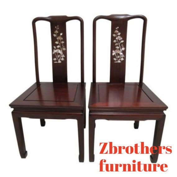 2 Vintage Rosewood Chinese Chippendale Mother Of Pearl Dining Room Side Chairs A