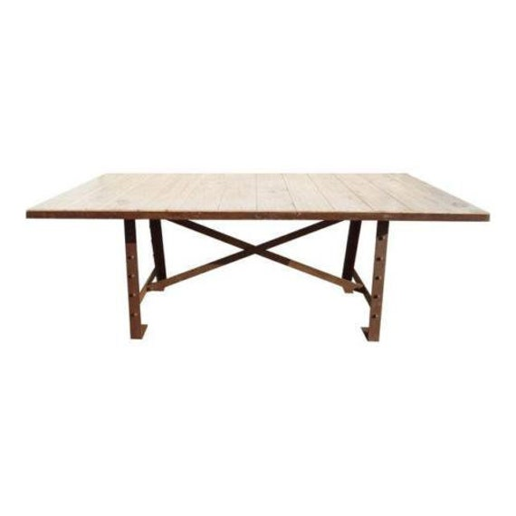 7 ft urban industrial metal wood dining room table rivet cast iron distressed
