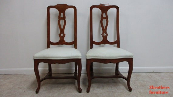 Pair Vintage Kittinger French Country Splat Back Dining Room Side Chairs A