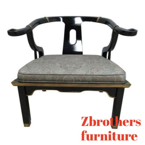 Vintage Chinese Chippendale Black Lacquer Lounge Chair Chinoiserie