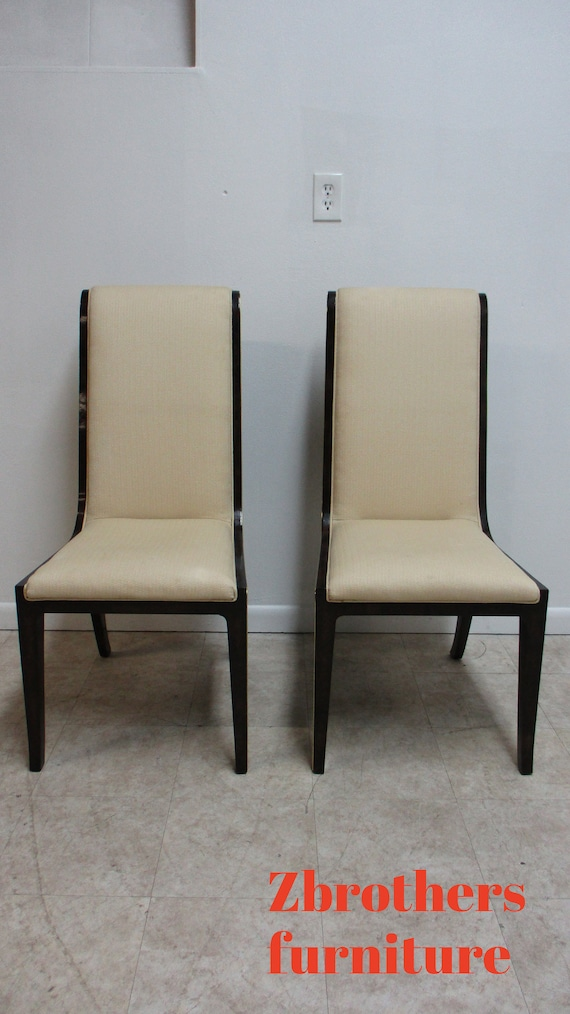 Pair Vintage Mastercraft Amboyna Neo Classical Dining Room Side Chairs Burl Wood A