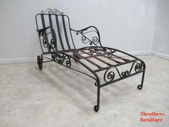 Antique French Deco Outdoor Chaise Lounge Patio Lounge Chair