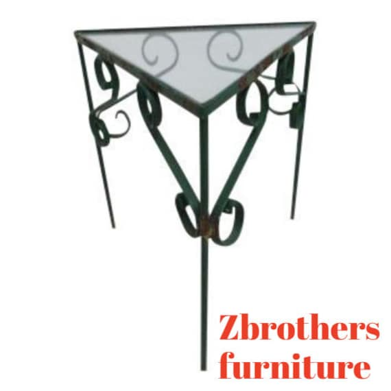 Vintage Triangle Wrought Iron Pedestal Patio Pirch Lamp End Table