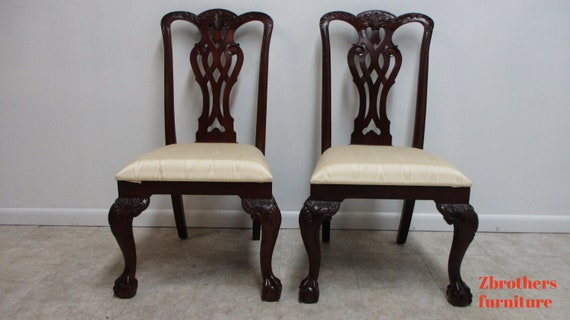 Pair Maitland Smith Mahogany Chippendale Dining Room Side Chairs Ball Claw B