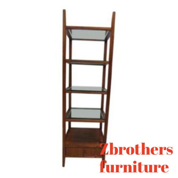 Mid Century Style Walnut Etagere Book Shelf China Cabinet Shelf Display