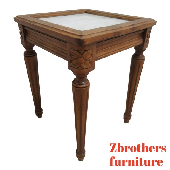 Antique French Carved Marble Top End Table Pedestal