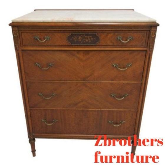 Antique Sligh Inlay Walnut Marble Top Depression Regency High Chest Dresser