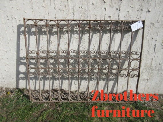 Antique Victorian Iron Gate Window Panel Fence Architectural Salvage Door #367