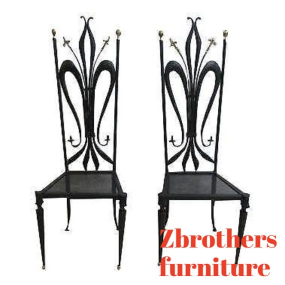 Pair Vintage Hollywood Regency Bronze Accent Metal Tall Back Throne Side Chairs