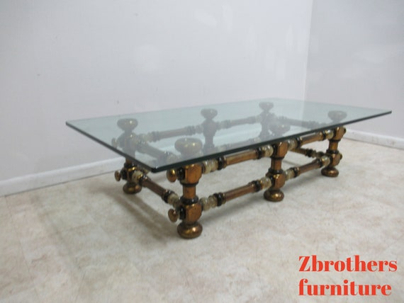 Vintage Italian Regency Bobbin Glass Top Gold Gilt Coffee Table
