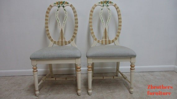 Pair Lexington Furniture Paint Decorated Balloon Back French Dining Side Chairs B