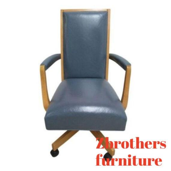 Ethan Allen American Dimensions Leather Denim Office Desk Chair
