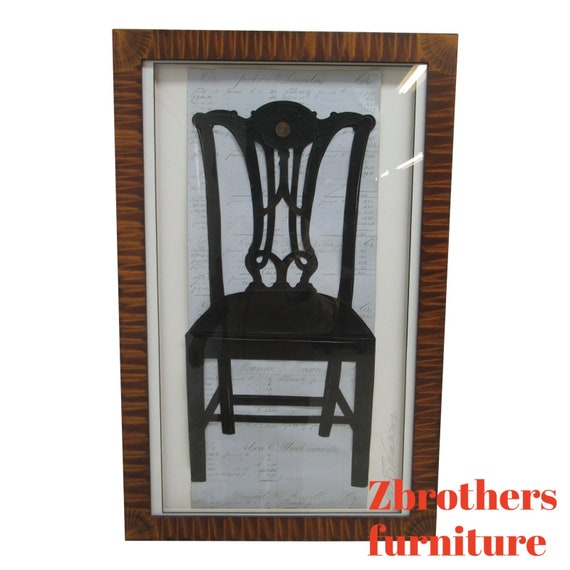 Custom Alison Shriver Design Framed Paper Cutting Silhouett Maitland Smith Chair