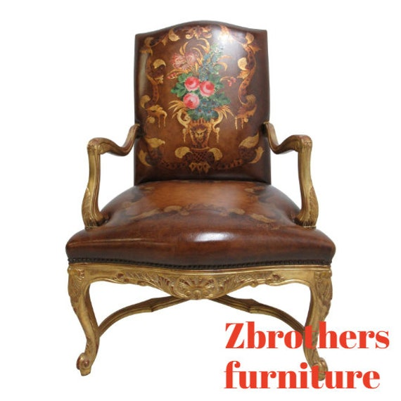 Old Hickory Tannery Leather Living Room Arm Lounge Chair Gold Gilt Hand Painted A
