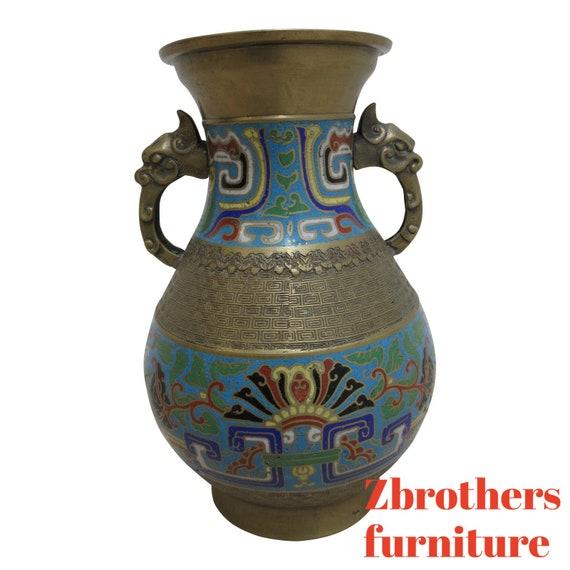 Vintage Brass Cloisonne Asian Inspired Vase Urn
