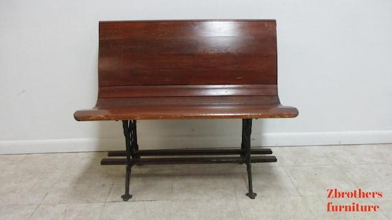 "Antique Bench Settee Victorian Cast Iron Oak Church Pew Railroad Gothic  37"" A"
