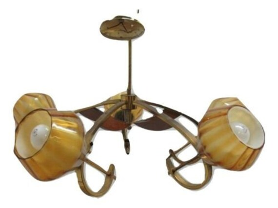 Vintage Mid Century Tiki Atomic Brass Walnut Chandalier Light