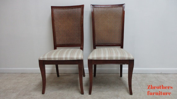 2 French Regency Cherry Cane Back Dining Room Side Chairs National Mount Airy B