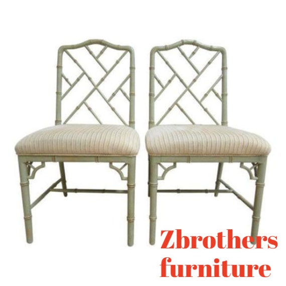 Pair Domain Faux Bamboo Desk Dining Room Chairs C