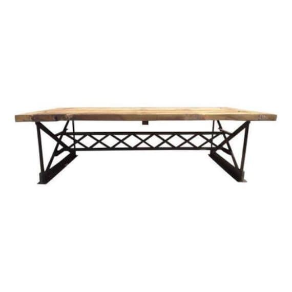 awesome urban industrial metal rivet truss surfboard coffee table