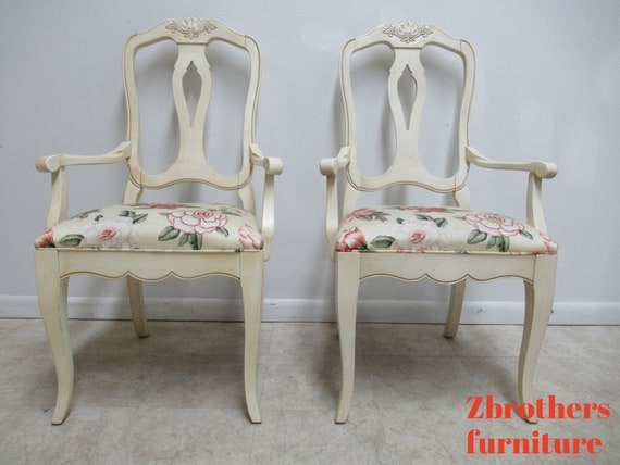 Pair Ethan Allen Country French Painted Dining Room Arm Chairs