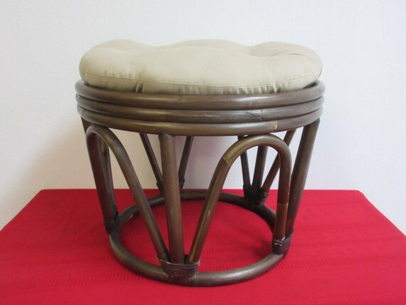Stupendous Vintage Pier One Rattan Button Top Foot Stool Ottoman A Andrewgaddart Wooden Chair Designs For Living Room Andrewgaddartcom