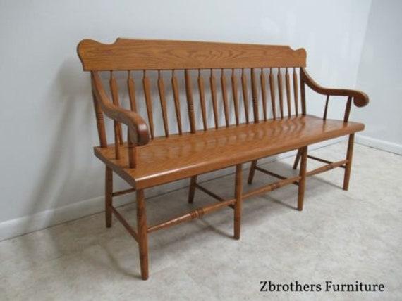 Super Vintage Oak Windsor Rail Road Deacon Bench Custom Amish Made Inzonedesignstudio Interior Chair Design Inzonedesignstudiocom