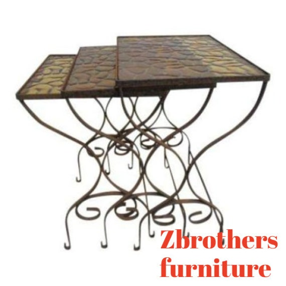 Vintage Iron Outdoor Patio Woodard Stacking Nesting Side End Tables 3pc
