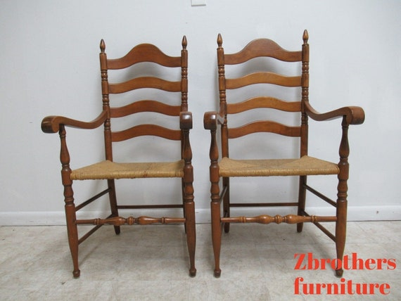 Pair Vintage Maple Tell City Ladder back Rush Seat Dining Room Arm Chairs
