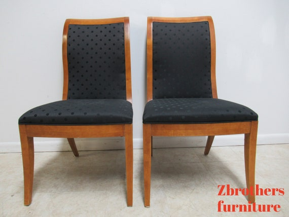 Pair Hickory White Genesis Neo Classical Dining Room Side Chairs Biedermeier E