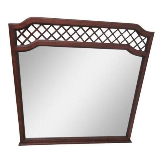 Vintage Collinwood Campaign Lattice Dresser Wall Mirror