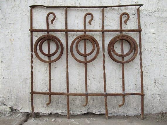 Antique Victorian Iron Gate Window Garden Fence Architectural Salvage Door #093