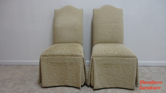 2 ETHAN ALLEN French regency Parson Custom Fabric Dining Room Chairs