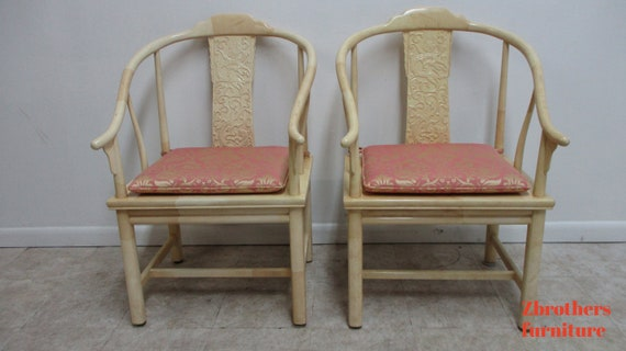 pair Vintage Henredon Faux Goatskin Pan Asian campaign dining room arm chairs