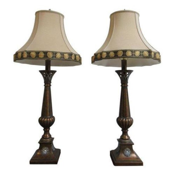 Pair Ethan Allen French Regency Flame Table Lamps Lights Shades