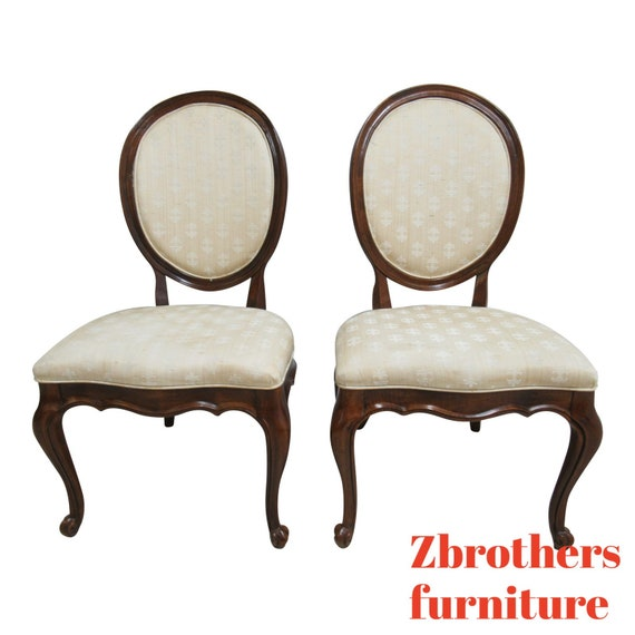 Pair White Furniture Co. French Carved Dining Room Side Chairs A