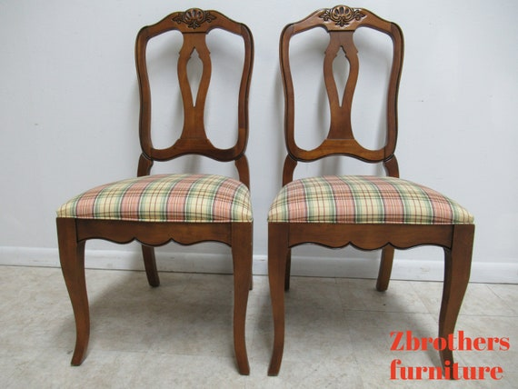 Pair Ethan Allen Country French Dining Room Side Chairs A