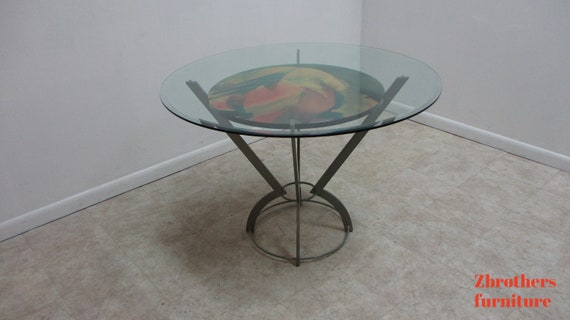 Vintage post Modern Wrought Iron Bistro Glass Top Dinette Game Table Dane Décor