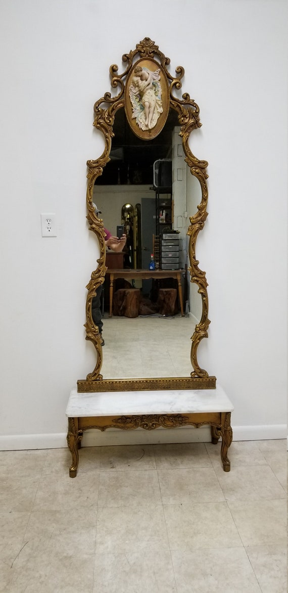 Vintage 1950s Italian Regency Gold Gilt Marble Top Pier Mirror Porcelain Figures