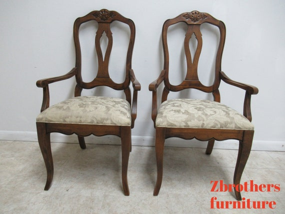 Pair Ethan Allen Country French Carved Dining Room Arm Chairs