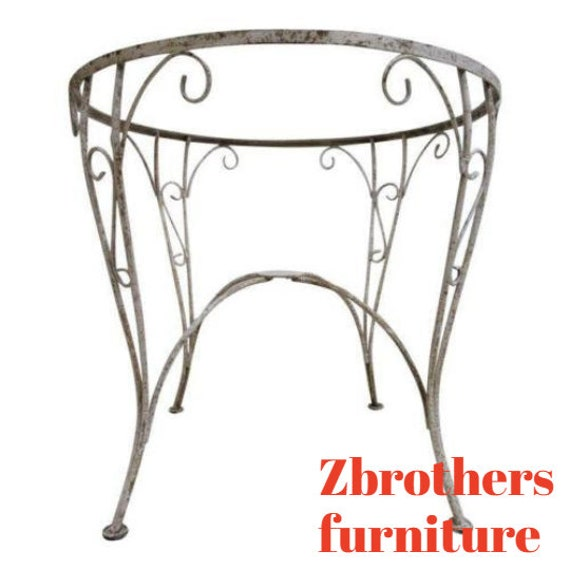 Petite Antique Woodard Wrought Iron Outdoor Patio Porch Dinette Dining Table A
