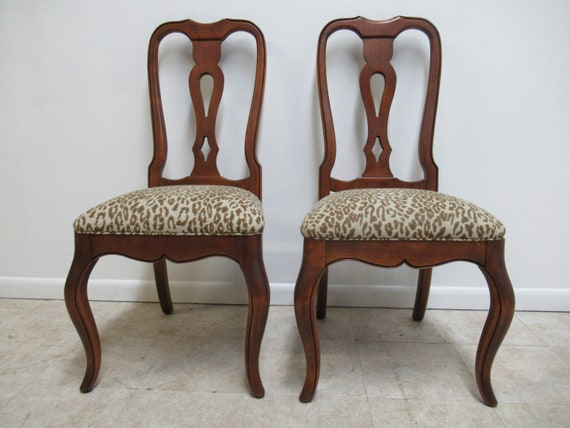 Pair ETHAN ALLEN  French Country Carved Dining Room Side Chairs special order A