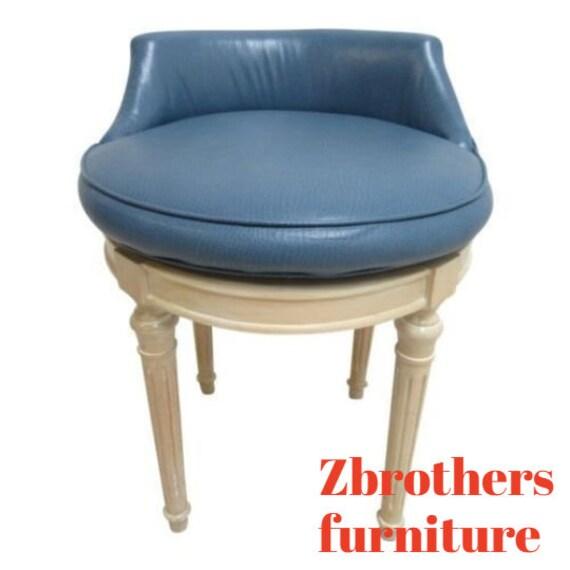 Custom French Regency Leather Revolving Vanity Stool Chair Seat