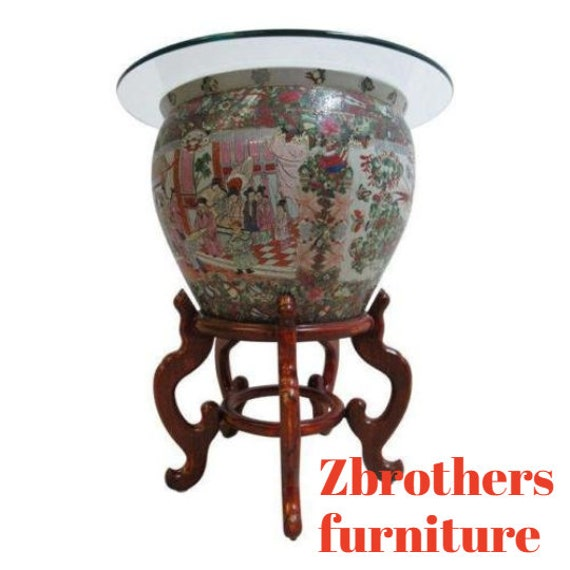 Vintage Asian Pottery Fish Bowl Stand Lamp End Table Pedestal B
