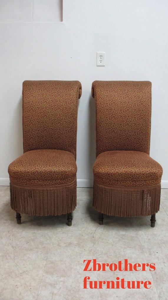 Pair Domian Italian Regency Boudoir Side Chairs Scrolled Back