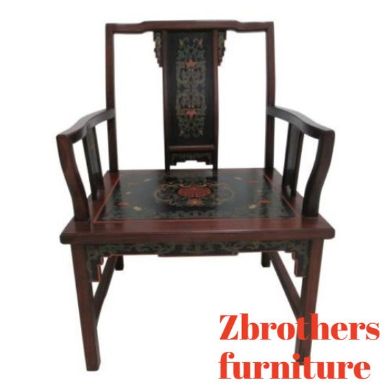 Vintage Quality Rosewood Chinese Chippendale Paint Decorated Lounge Chair B