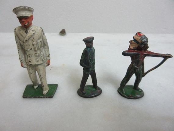 Rare Vintage 3 Piece Lead Toy Lot Military Indian Figure Antique Toys