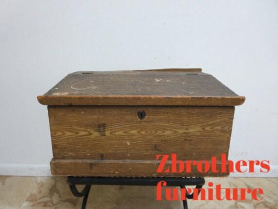 Antique Original Grain Painted Lap Desk Bible Preaches Box