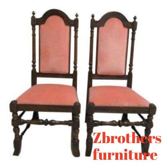 Pair Ethan Allen Charter Oak Jacobean Dining Room Side Chairs C